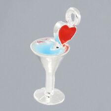 1 pcs Charm Pendants Martini Cocktail Drink Tone Enamel Heart 23x10mm LC0965
