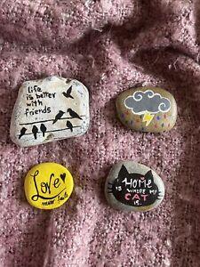 Hand painted rocks, stones fridge magnets X4