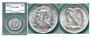 1918-D 50C-PCGS MS63 Liberty Walking Halve ++