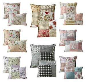 Luxury New Printed Patchwork Cushion Covers Sold as Pair, 2 Sizes