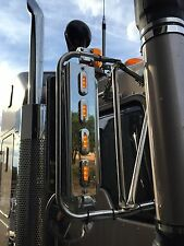 """Mirror Stainless - A/A 2"""" Straight Lights to suit Kenworth,Mack and Western Star"""