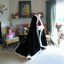 Warm Christmas Hooded Long Cloak Winter Faux Fur Costume Poncho Wedding Capes