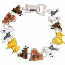 NEW Enamel Pedigree Dog Breed Magnetic Bracelet in Silvertone & Multi-Color