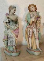 "Antique Huge Continental Porcelain Bisque Couple of figurines, 19"" H."