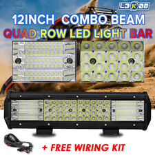 12inch 1128W Quad ROW LED Work Light Bar Spot Flood Offroad UTE Driving 4x4WD 9""