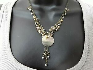 40cm  pearl & glass Charm shell pendant Necklace ref:D308