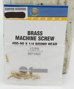 Walthers 947-1003 Brass Machine Screw #00-90 x 1/4 Round Head (Pack of 12)
