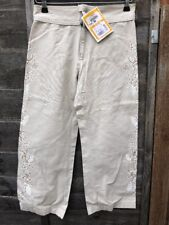 NEW O'Neill Age 14 COTTON Pearl Beige Trousers Cropped Floral Print SUMMER