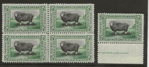 FALKLAND ISL.SG 127 1933 CENTENARY 1/2d IN SUPERB BLOCK OF 4 &INSCRIPTION SINGLE