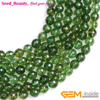 """Faceted Round Green Peridot Quartz Loose Beads for Jewelry Making Strand 15"""""""