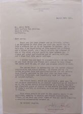 Curtis Bernhardt signed letter, March 14th, 1961