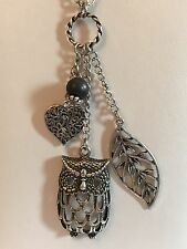 "Silver Tone 36"" Multi Owl Heart Leaf Cluster Statement Necklace Pendant (A213)"