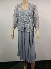 NEW - Alex Evenings - Size 10P - 2-Pieces Petite Lace Evening Dress - Grey $199