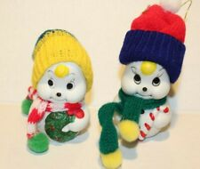 2 Vintage Giftco Christmas Bells Porcelain Snowmen Bears Knitted Hats Scarfs