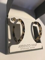 Argento Vivo 2 Pairs HOOP AND STUD EARINGS SET STERLING SILVER NEW