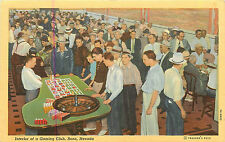 RENO NV GAMBLING CLUB INTERIOR GAMBLERS PLAYING TABLE GAMES LINEN 1930'S P/C