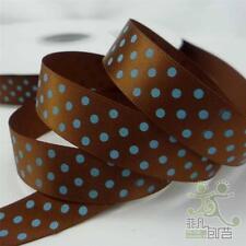 """5/8""""16mm Brown Blue Dots Satin RIBBON 5 Yard Craft Sewing Hair Bow Embellish"""