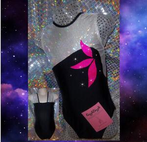 Gymnastics Leotard Girls Sparkly Dance Black Pink Razzledazzle MADE IN THE UK