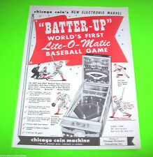 Chicago Coin BATTER UP Original 1958 NOS Baseball Pinball Machine Promo Flyer