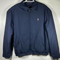POLO Ralph Lauren Navy Blue HARRINGTON PLAID LINED Golf Jacket Mens Size LARGE