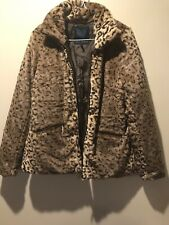0089470fc73 GO COCO womens faux fur leopard jacket coat L LARGE full zip up
