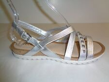 Ecco Size 7 to 7.5 DAGMAR Silver Leather Cross Dress Sandals New Womens Shoes