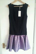 'Erin Fetherston' Ladies Black/Violet Ruffle Dress, Size UK8, US6, EU36
