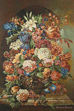 "32"" WALL WOVEN TAPESTRY Flemish Bouquet EUROPEAN DECOR -VICTORIAN FLORAL PICTURE"