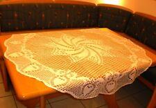 VINTAGE Shabby Landhaus Omas große Häkel-Tischdecke-Mitteldecke Weiß Rund 125 cm