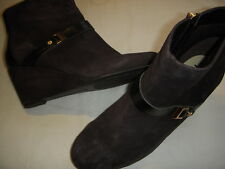 Isaac Mizrahi Live Koi Suede Leather Wedge Heel Ankle Boots Women 8.5 W Dk Brown