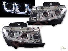 2014-2015 Chevy Camaro LS LT SS Chrome LED U Bar i8 Style Projector Headlights