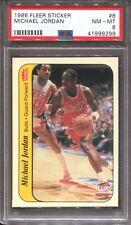MICHAEL JORDAN ~ 1986-87 1986 Fleer Basketball Stickers #8 ~ Graded PSA 8 NM-MT