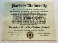 Green Bay Packers Nfl #1 Fan Certificate Man Cave Diploma Perfect Gift
