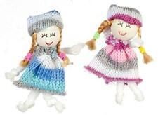 Dolls House Miniature Nursery Toy Shop Accessory 2 Little Girls Woollen Dolls