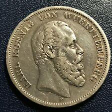 1875-F  GERMANY WUERTTEMBERG SILVER 5 MARKS RARE CROWN COIN