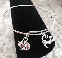 2 Silver Cat charms Expandable Bangle Bracelet