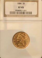 1884 NGC XF45 $5 gold half eagle *RARE*