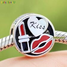 S925 Sterling Silver Glamour Kiss Charm Mixed Enamel Clear CZ Bead Fit Bracelet