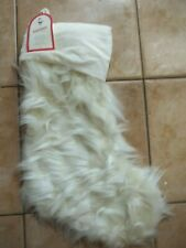 "Pottery Barn Kids Ivory Faux Fur Holiday Christmas Stocking 20""L #1948"