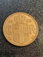 1929 N-GJ Iceland 2 Kronur Mintage Only 77k!!! Ch XF