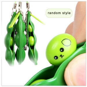 Funny Squeeze-a-Bean Stress Relief Hand Fidget Toy Keychain For Adult Kid ADHD P