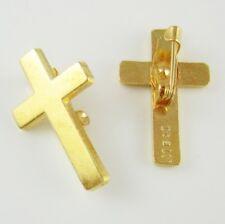 More details for joblot of 100 x  24k gold plated christian cross lapel pins - 24 karat religious