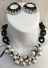 Artiisan Faux Pearl,Black plastic chain, Black metal Necklace and Pierced Earrin