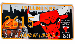 Chicago Bulls Old License Plate Micheal Jordan Championship NBA 1993 Three-Peat
