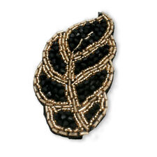 Mia Hair Barrette Hair Accessory, Beaded Leaf Clip, Black 1 pc