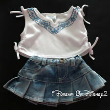 Build-A-Bear WHITE BLUE BOW TOP & STONEWASHED DENIM SKIRT Teddy Clothes Outfit