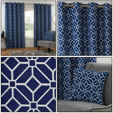 Navy Blue Eyelet Curtains Kelso Geometric Mosaic Lined Ring Top Curtains Pair