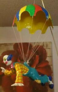 VTG Paper Mache Clown Hanging from Parachute Signed Los Gatos Made in Mexico