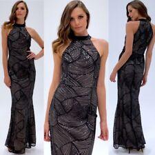 Ball Gown High Neck Sequins Formal Wear Dress BLACK size 10