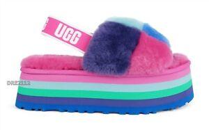 UGG Disco Checker Slide Pride Rainbow Blue Fur Slippers Womens Size 7 *NIB*